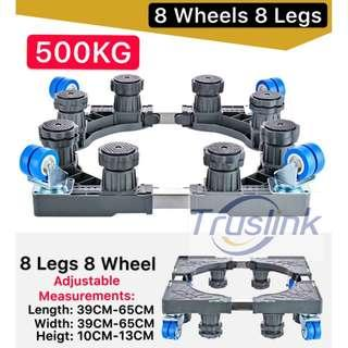 Multi-functional Movable Adjustable Base Stainless Steel Poles Support with Casters Mobile Case/dolly/roller, Strong Feet Protable for Washing Machine, Dryer and Refrigerator, Cabinet