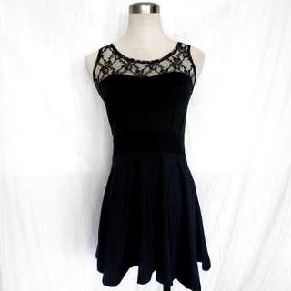 Black Dress with Floral Lace Panel (S)