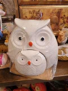 🚚 Ceramic Owl Figure Set