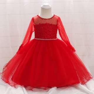 Baby Girls Dress Embroidered Lace Flower Girl Dress Red Long Sleeves