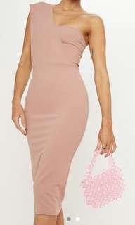 Dusty Pink Bandeau One Shoulder Strap Dress