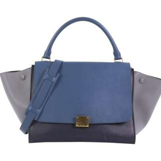 62c586fd8cdc Celine Trapeze Tricolor Handbag Small Blue and Gray Leather Tote
