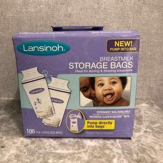 Lansinoh 儲奶袋三盒,每盒100个。Breastmilk Storage Bag 3 Boxes, 100 bags each box