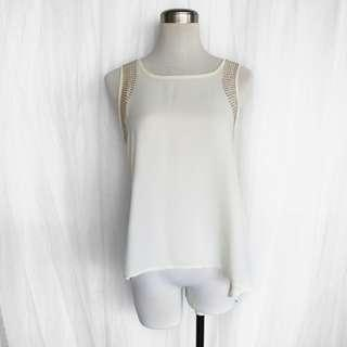 NWOT Cream Studded Sleeveless Blouse (S)