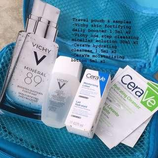 Vichy skincare sample + travel pouch