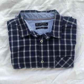 Esprit Short Sleeve Checkered Button Up Top
