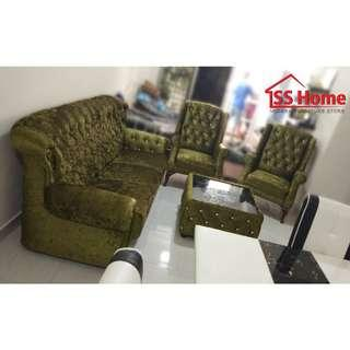 3 Seater Chesterfield Sofa+2 Wing Chair+Coffee Table