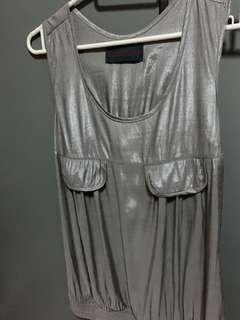Korean 2019 S/S collection unique sleeveless chic pewter grey satiny sheen top,stylish,office look,OL,fashion,daily,ootd, comfortable, cooling