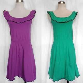 Purple & Green Topshop Dresses with Ruffled Neckline Detail (EUR 34 / US 2 / UK 6)