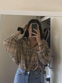 Oversized checkered button top