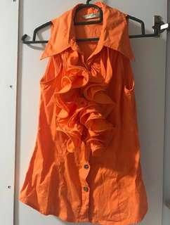 Sleeveless Blouse - osmose size 1 Orange Colour
