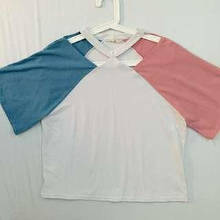 Pink&Blue Sleeve Top