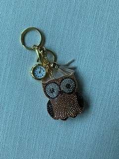 絨布鑲鑽 卡通貓頭鷹 袋錶鎖匙扣掛件 流蘇 包包掛飾