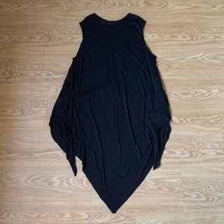 Uneven Hem Black Long Dress