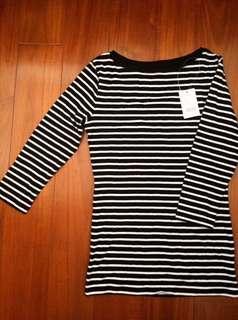 🚚 NET 黑白條紋/簡約/休閒/日式/歐美/古著/復古 長袖上衣/長袖t恤/薄長袖/七分袖