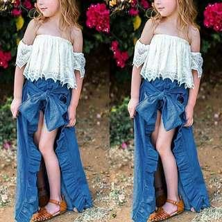 Top Ruffled Denim Skirt and Shorts Set for little girl