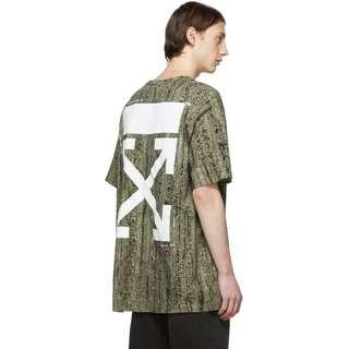 Off-White Green Oversized Real Camo T-Shirt
