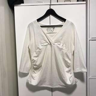 Maternity nursing friendly white top