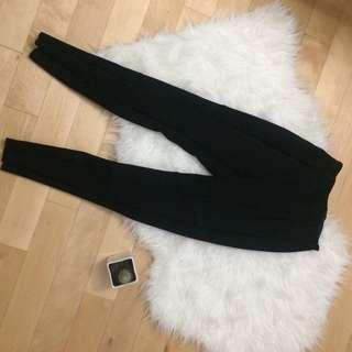 Black suede leggings