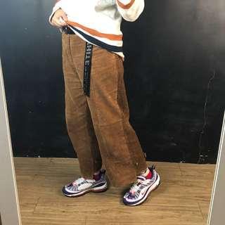🚚 新品復古粗條燈芯絨九分長褲/寬褲(2色)