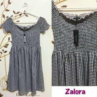 Zalora Gingham Off Shoulder Dress
