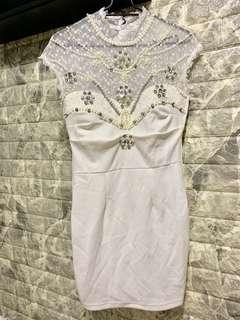 White bling bling lace pearls dress