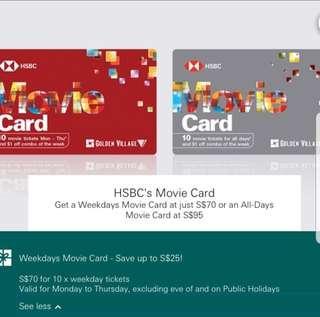 🚚 HSBC weekday Movie Tickets @ $70