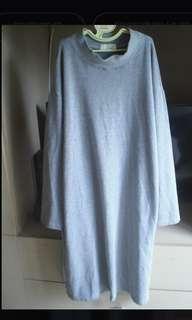 🚚 灰色開岔寬鬆洋裝