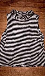 Crop top stripe black and white