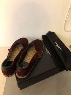SAINT LAURENT草編鞋 平底鞋 動物紋絨布