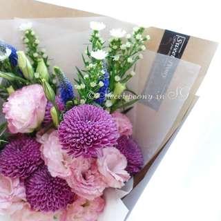 Customized fresh flower bouquet by Korean florist/purple bouquet/purple flower