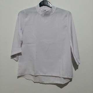 #maudompet atasan wanita blouse putih white lengan panjang