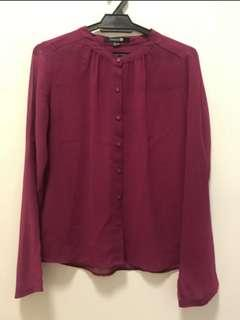 Forever 21 Maroon button up blouse