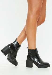 Brand new Black croc ankle boots