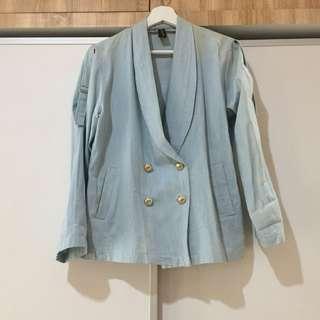 Retail Therapy Light Blue Denim Blazer #jumat80