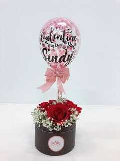 """5"""" personalised balloon with flower box"""