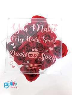 Personalised Valentine Day Acrylic Flower Box - 12 roses