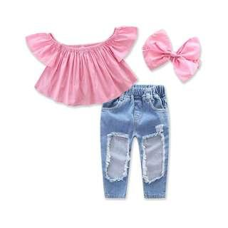 🚚 [IN-STOCK] Pinky Crop Tank Top with Long Jeans Pant & Headband (NCS 012)