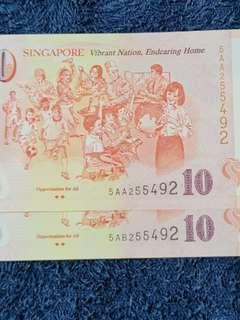 💰CONFIRMED SOLD. 5⃣ 5 designs in 5⃣ 5 pairs with 👍 special features in SG50 Commenorative legal tender notes.