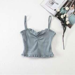 Powder Blue Ruched Top