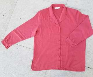 Rusty pink longsleeves buttondown top
