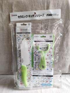 日本京瓷Kyocera陶瓷刀、皮刨+切菜板套裝♥
