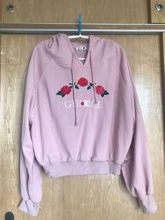 Letter and rose embroidery oversized Hoodie