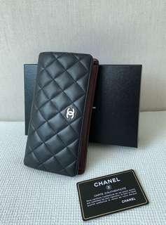 100% Authentic CHANEL CC Logo Black Lambskin Long Wallet