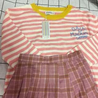 🚚 粉色條紋毛衣