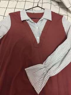 🚚 假兩件襯衫裙