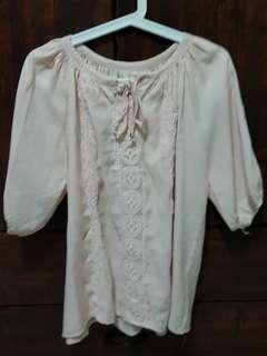 🚚 BN Pastel pink cotton long blouse