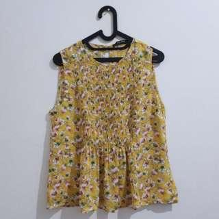 Zara flowery top yellow