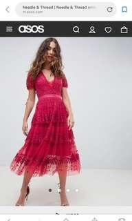 🚚 Needle & Thread embroidered lace tiered midi dress in berry