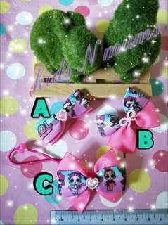 Handmade lol surprise doll hair clips / hair ties
